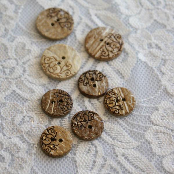 Knapp kokos mönster beige-brun