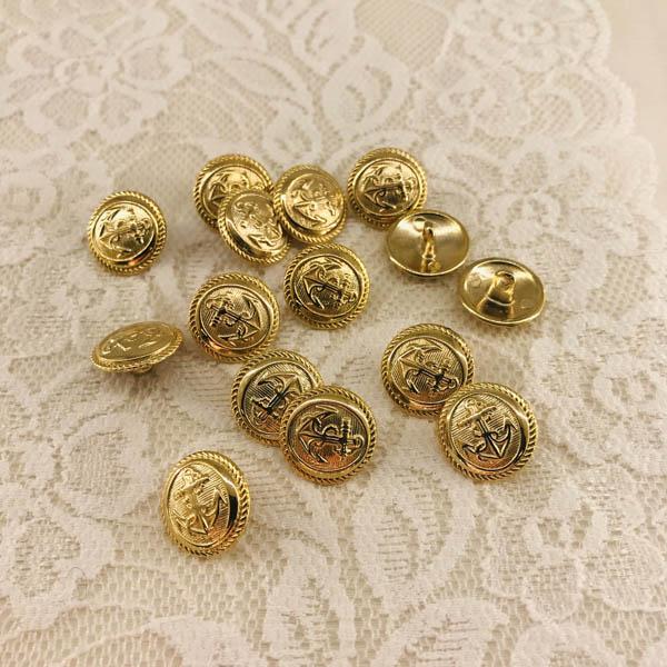 Knapp metall guld ankare 16mm