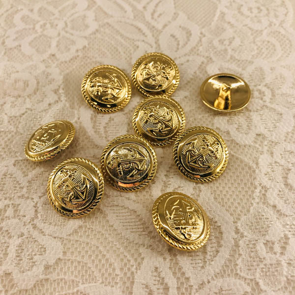 Knapp metall guld ankare 20mm