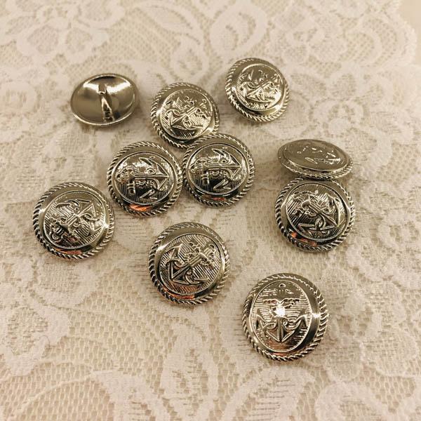 Knapp metall silver ankare 20mm