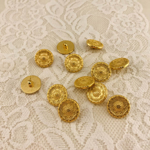 Knapp metall guld ornament 16mm