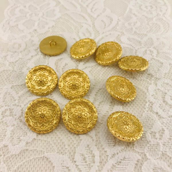 Knapp metall guld ornament 20mm