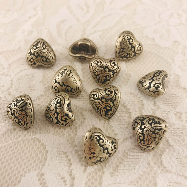 Knapp metall hjärta 15mm