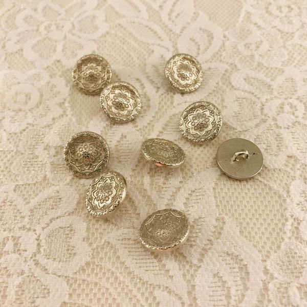 Knapp metall silver ornament 16mm