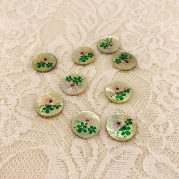 Knapp pärlemor blomma 16mm grön