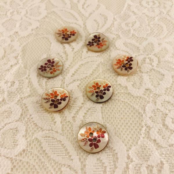 Knapp pärlemor blomma 16mm orange