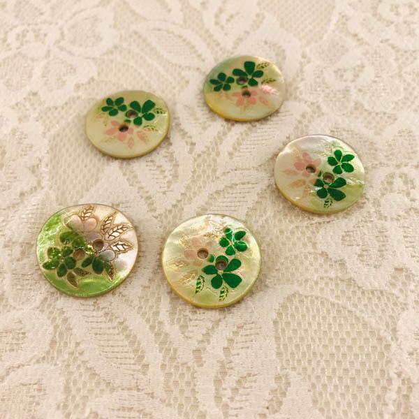 Knapp pärlemor blomma 20mm grön