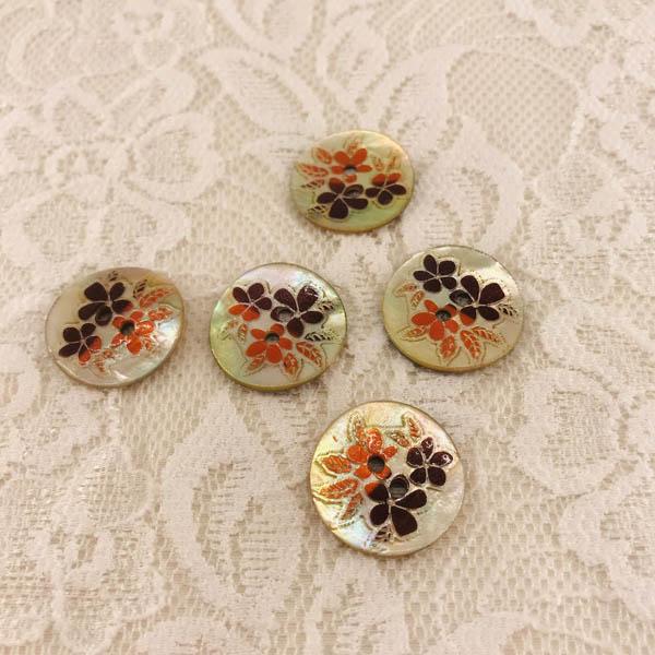 Knapp pärlemor blomma 20mm orange