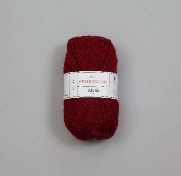 Rauma 3-tråd Strikkegarn 128 vinröd