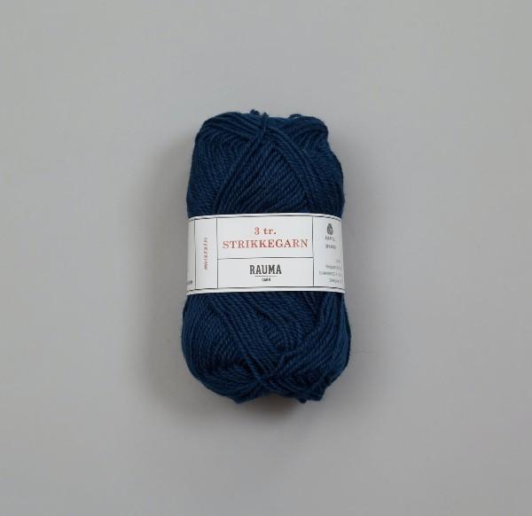 Rauma 3-tråd Strikkegarn 147 mörk blå