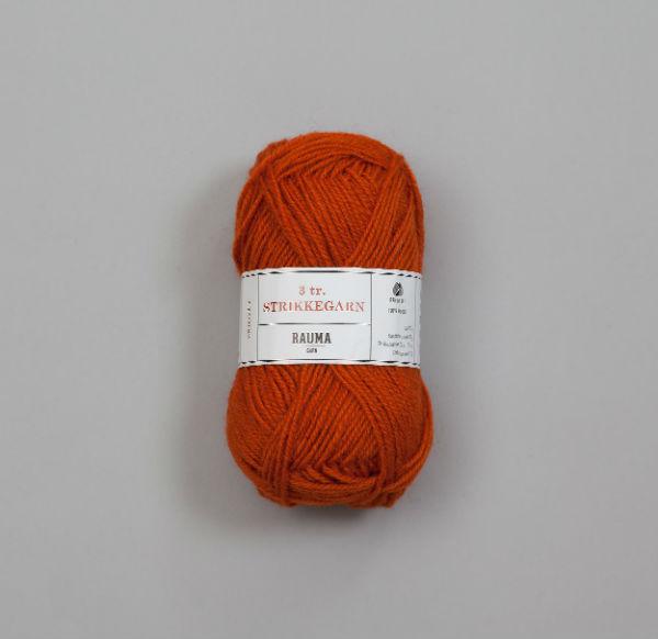 Rauma 3-tråd Strikkegarn 177 mörk orange