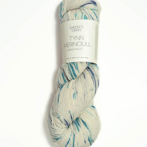Tynn Merinoull 1050 handfärgad, blåbär
