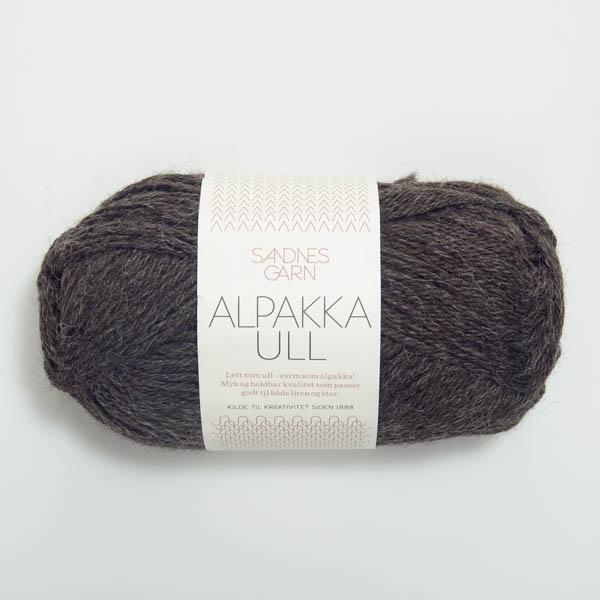 Alpakka Ull 1053 mörk gråmelerad