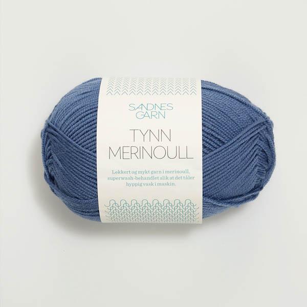 Tynn Merinoull 6052 jeansblå