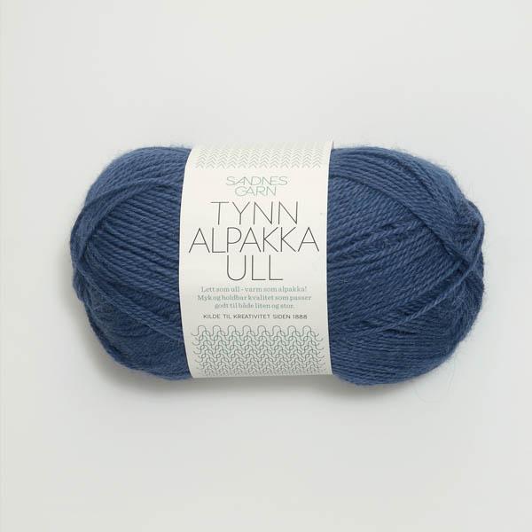 Tynn Alpakka Ull 6364 mörk blå
