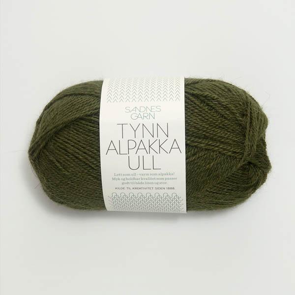 Tynn Alpakka Ull 9573 mossgrön