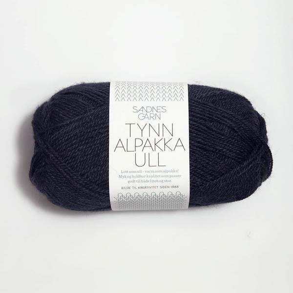 Tynn Alpakka Ull 6081 midnattsblå