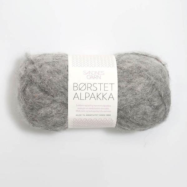 Borstad Alpakka 1042 gråmelerad